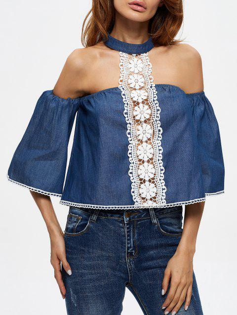 Neck Blouse Panel Lace 2018 BLUE Choker OFF M In 17 OZH4qU7n 00a40b4462c