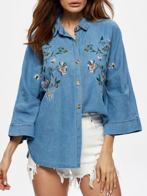 Floral Embroidered Single Breasted Denim Shirt - BLUE ONE SIZE(FIT SIZE XS TO M)