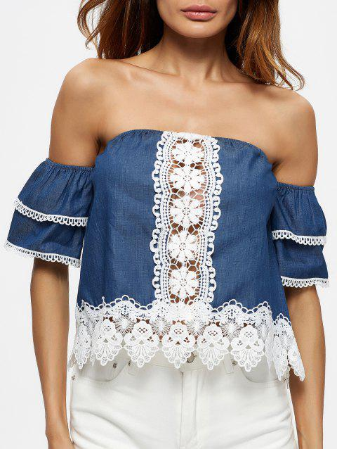 Ruffle Sleeve Off The Shoulder Blouse - BLUE XL