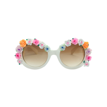 Tiny Flowers Curving Leg Mirrored Sunglasses