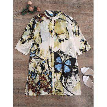 Chiffon Butterfly Print Plus Size Top