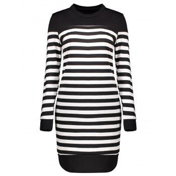 Contrast Striped Long Sleeve Dress