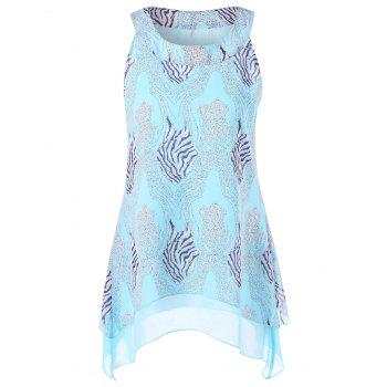 Sleeveless Zebra Layered Asymmetrical Blouse
