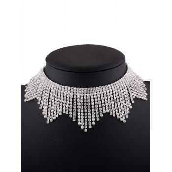 Rhinestone Alloy Fringed Necklace - SILVER