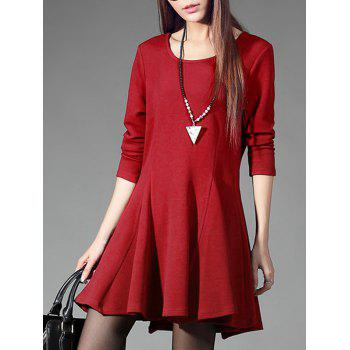 Chic Scoop Neck Solid Color Slimming Women's Dress