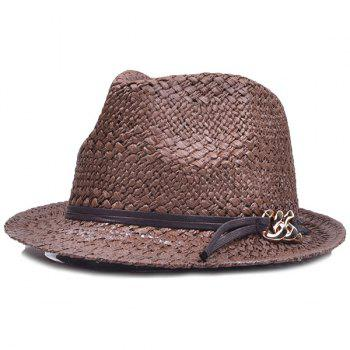 Chain PU Straps Straw Jazz Hat
