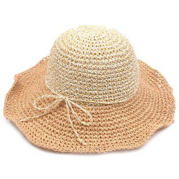 Color Block Flouncing Straw Fedora Hat