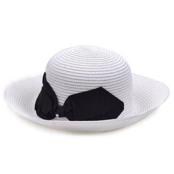 Bowknot Flanging Straw Bowler Hat