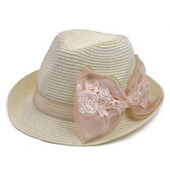 Bowknot Band Straw Fedora Hat