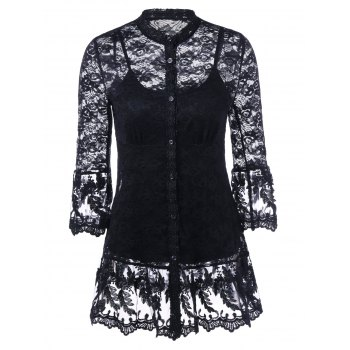Lace Tunic Blouse With Cami Top