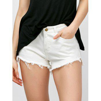 Asymmetrical Fringed High Waisted Shorts