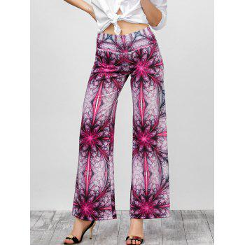 Ornate Print High Rise Wide Leg Pants