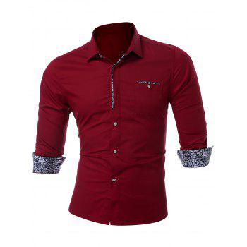 Long Sleeve Chest Pocket Shirt - WINE RED L