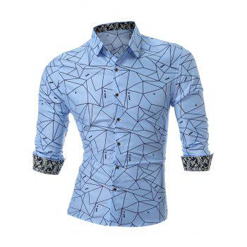 Long Sleeve Geometric Printed Shirt