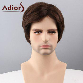 Adiors Hair Short Sided Bang Straight Capless Synthetic Wig - BROWN BROWN