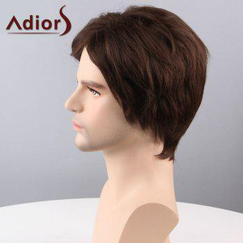 Adiors Hair Short Sided Bang Straight Capless Synthetic Wig -  BROWN