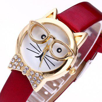 Cat With Glasses Analog Watch - BLACK