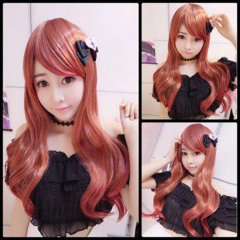 Harajuku Long Wavy Oblique Bang Cosplay Lolita Synthetic Wig - RED RED