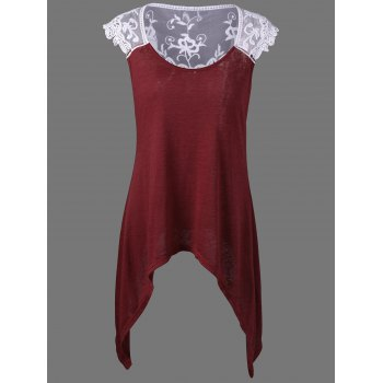 Cap Sleeve Sheer Lace Trim Asymmetrical T-Shirt