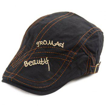 Letters Embroidery Sewing Texture Cabbie Hat
