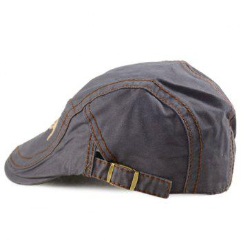 Letters Embroidery Sewing Texture Cabbie Hat - GRAY GRAY