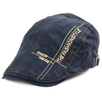 Denim Letters Cross Embroidered Newsboy Hat