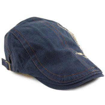 Denim Letters Cross Embroidered Newsboy Hat - DEEP BLUE ONE SIZE