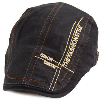 Denim Letters Cross Embroidered Newsboy Hat - BLACK ONE SIZE