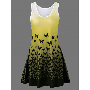 Plus Size Butterfly Print Ombre A Line  Tank Dress