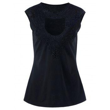 Plus Size Lace Crochet Keyhole Tank Top
