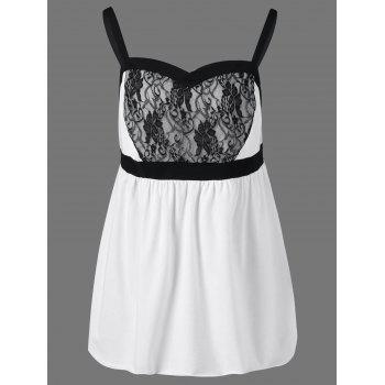 Lace Insert Plus Size Babydoll Tank Tops - WHITE AND BLACK WHITE/BLACK