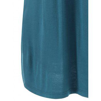 Plus Size Button Detailed Wrinkle T-Shirt - BLUE GREEN BLUE GREEN