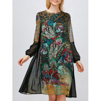 Print Long Sleeve Shift Dress