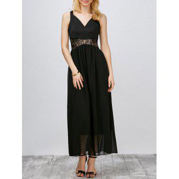 Lace Panel Chiffon Maxi Gown Evening Dress