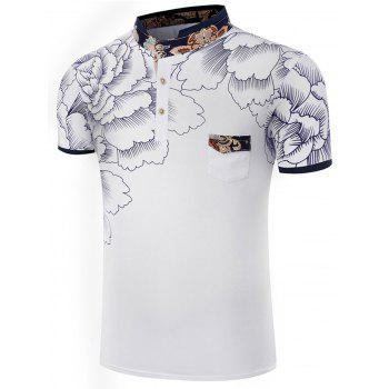 Stand Collar Chest Pocket Polo Shirt