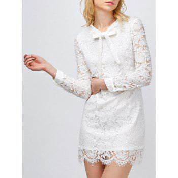 Bow Neck Mini Lace Bodycon Dress