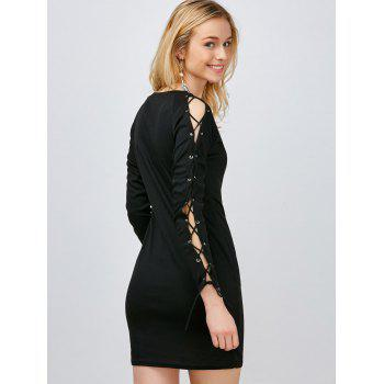 Mini Lace Up Robe moulante - Noir XL