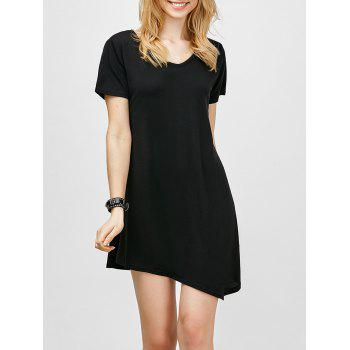Asymmetric Hem Short Sleeve Dress