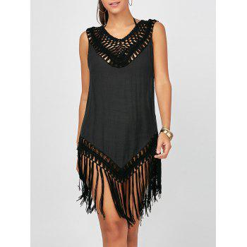 Sleeveless Crochet Fringe Tunic Cover-Up