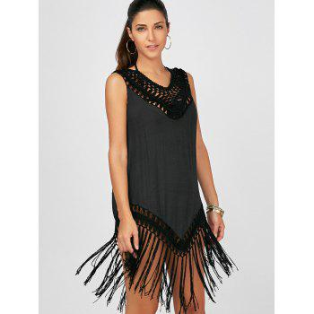 Sleeveless Fringed Cover Up Dress for Beach - BLACK ONE SIZE