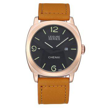 CHENXI Faux Leather Strap Date Watch