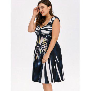 Plus Size Bowknot Printed Sleeveless Swing Dress - COLORMIX XL