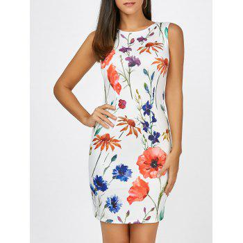 Floral Sleeveless Mini Bodycon Dress