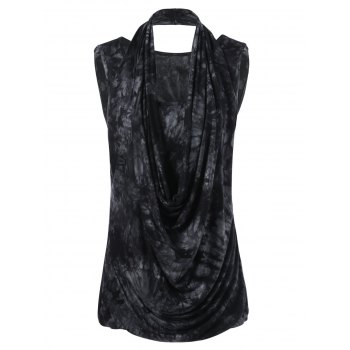 Plus Size Cowl Neck Sleeveless T-Shirt