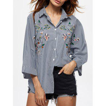 Single Breasted Floral Embroidery Shirt