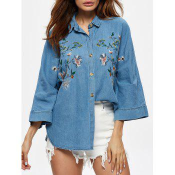 Floral Embroidered Single Breasted Denim Shirt