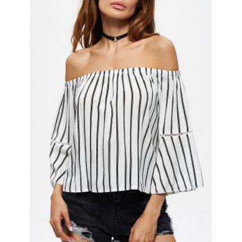 Flare Sleeve Off The Shoulder Striped Blouse