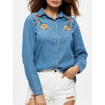 Floral Embroidery Denim Cowboy Shirt