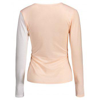 Contraste Cross Plongeant Neck Tee - ROSE PÂLE 2XL