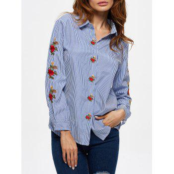 Pinstriped Floral Embroidered Shirt